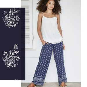 Fat Face Woodblock Floral Wide Leg Pants Navy 6